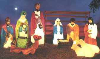 plastic christmas lawn decorations life size nativity shown complete illuminated