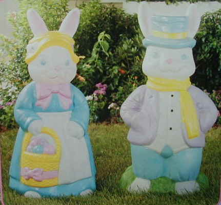 34inch Mr & Mrs Rabbit - Illuminated Easter Decoration's by General Foam Plastics Corp- Item Number GFE 55670