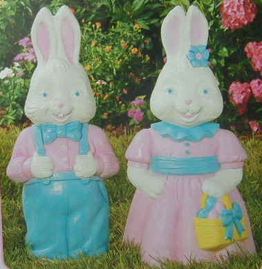24inch Mr & Mrs Rabbit - Illuminated Easter Decoration's by General Foam Plastics Corp