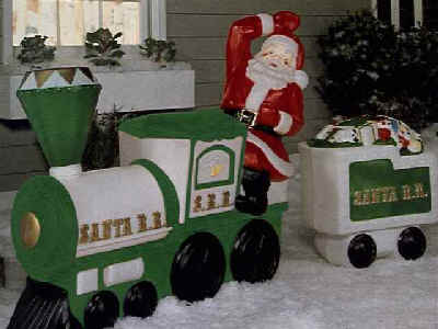santa train and tender car - Santa Train Outdoor Christmas Decoration